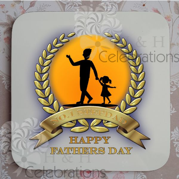 No 1 Stepdad And Daughter Laurel Silhouette Personalised Coaster